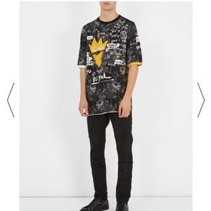 Dolce and Gabbana Graffiti-style Floral Print Tee